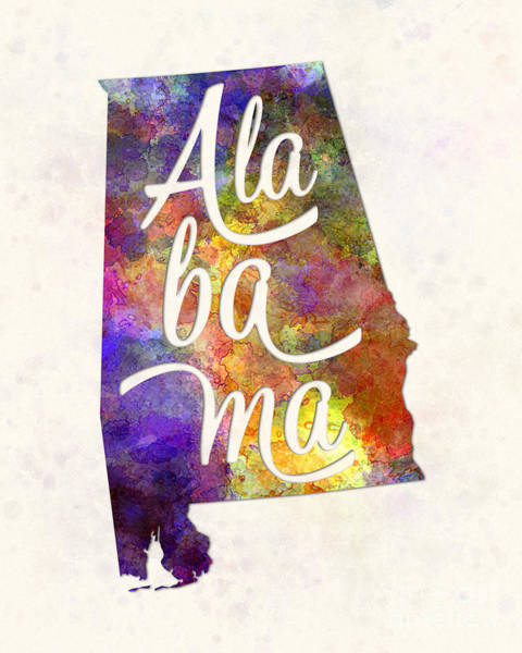 Alabama Painting - Alabama Us State In Watercolor Text Cut Out by Pablo Romero
