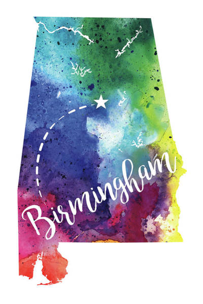Alabama Hills Painting - Alabama Watercolor Map - Birmingham Hand Lettering  by Andrea Hill