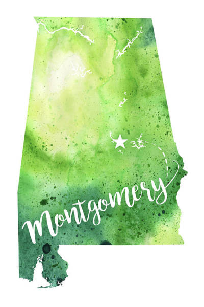 State Of Alabama Painting - Alabama Watercolor Map - Montgomery Hand Lettering  by Andrea Hill