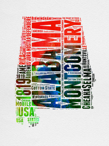 Map Art Mixed Media - Alabama Watercolor Word Cloud  by Naxart Studio