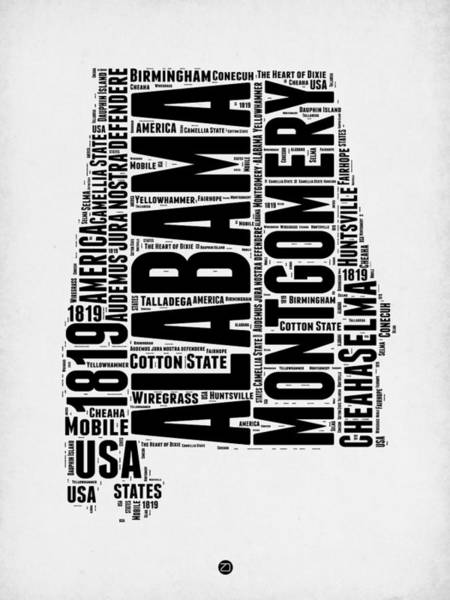 Map Art Mixed Media - Alabama Word Cloud 2 by Naxart Studio