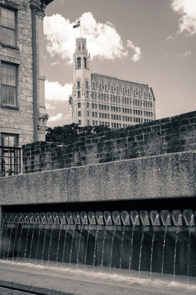 Photograph - Alamo City Fountains - San Antonio In Sepia by Gregory Ballos