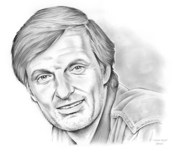 Drawing - Alan Alda by Greg Joens