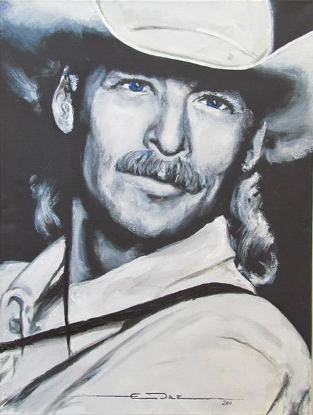 Drawing - Alan Jackson - In The Real World by Eric Dee