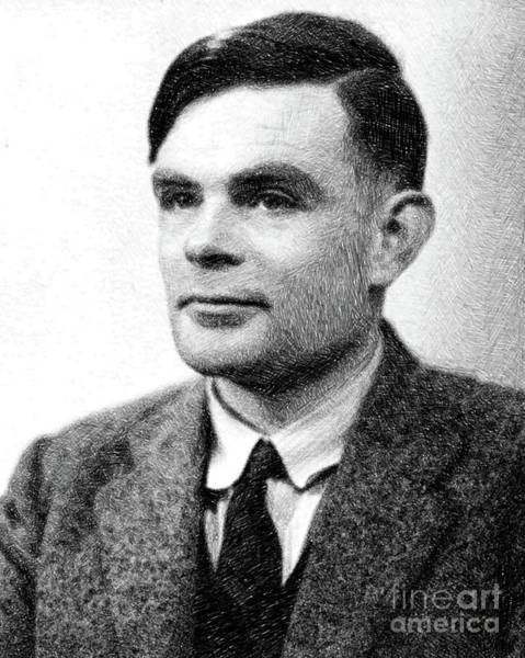 Poetry Drawing - Alan Turing, Mathematical Genius By Js by John Springfield
