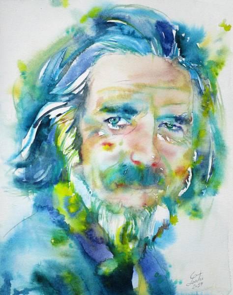 Guru Painting - Alan Watts - Watercolor Portrait.4 by Fabrizio Cassetta