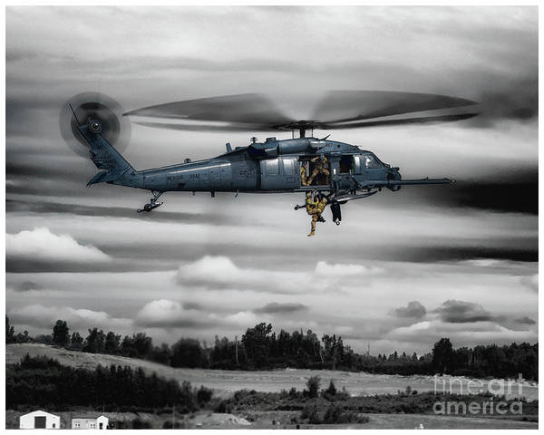 Elmendorf Photograph - Alaska Air National Guard Hh-60g Pave Hawk Hosting Up 2 Heroes by Joe Kunzler