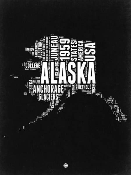 Alaska Black And White Map Art Print