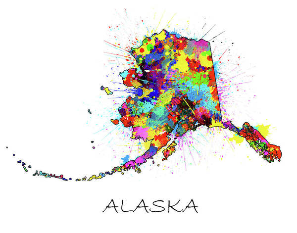 Wall Art - Digital Art - Alaska Map Color Splatter by Bekim M