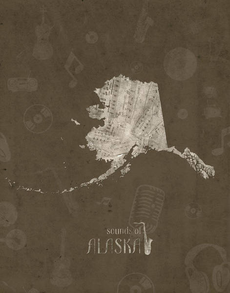 Wall Art - Digital Art - Alaska Map Music Notes 3 by Bekim M