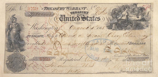 Photograph - Alaska Purchase: Check by Granger