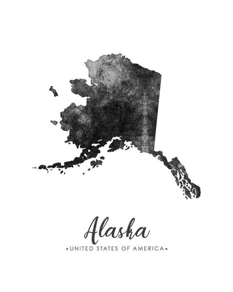 Wall Art - Mixed Media - Alaska State Map Art - Grunge Silhouette by Studio Grafiikka