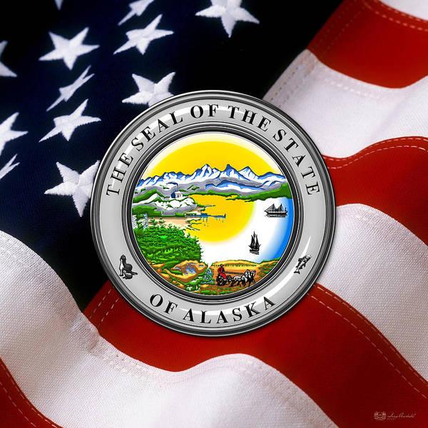 Digital Art - Alaska State Seal Over U.s. Flag by Serge Averbukh