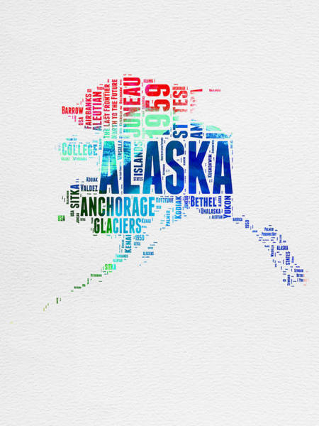 Map Art Mixed Media - Alaska Watercolor Word Cloud  by Naxart Studio