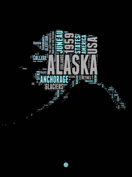 Map Art Mixed Media - Alaska Word Cloud 1 by Naxart Studio