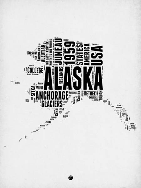 Map Art Mixed Media - Alaska Word Cloud 2 by Naxart Studio