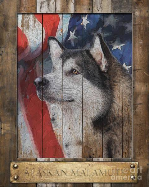 Digital Art - Alaskan Malamute Flag Poster by Tim Wemple