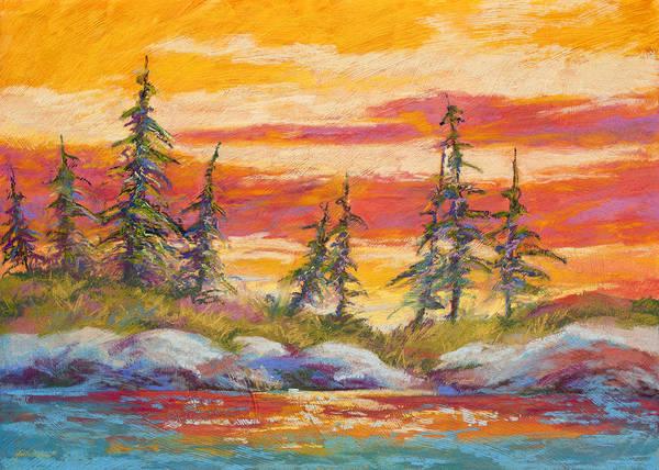 Evergreen Wall Art - Pastel - Alaskan Skies by Marion Rose