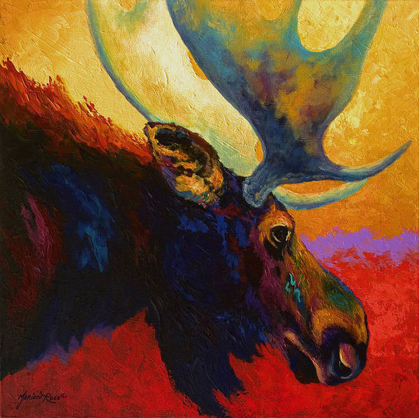 Lake Wall Art - Painting - Alaskan Spirit - Moose by Marion Rose