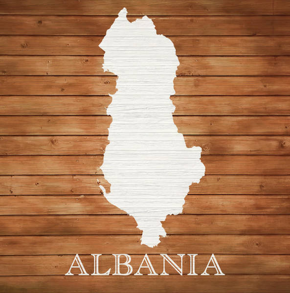 Traveler Mixed Media - Albania Rustic Map On Wood by Dan Sproul