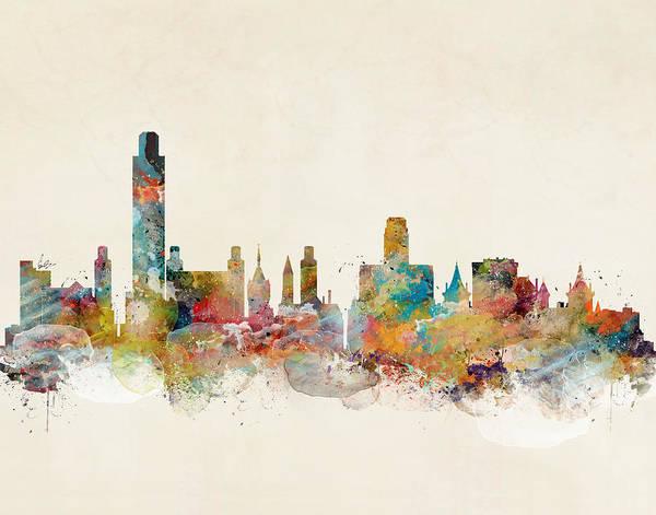 New York Skyline Wall Art - Painting - Albany New York by Bri Buckley