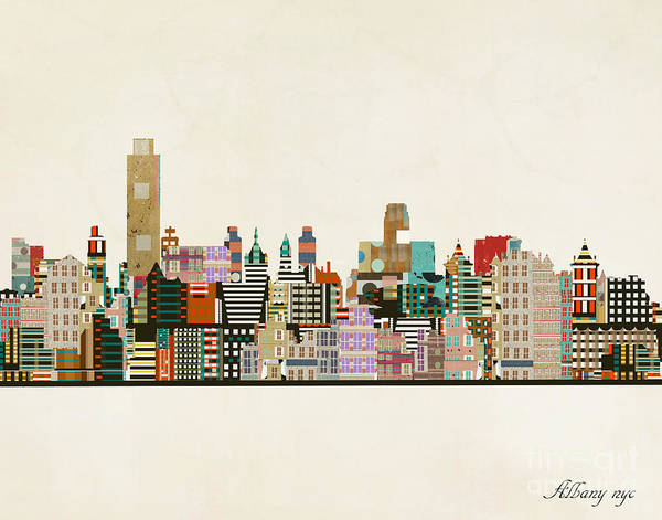 Wall Art - Painting - Albany New York Skyline by Bri Buckley