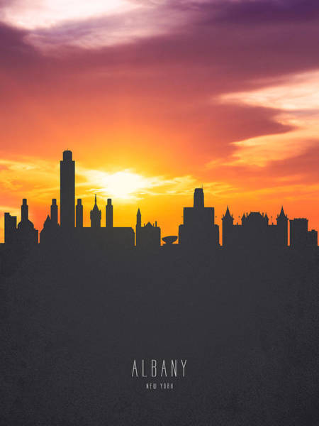 Wall Art - Painting - Albany New York Sunset Skyline 01 by Aged Pixel