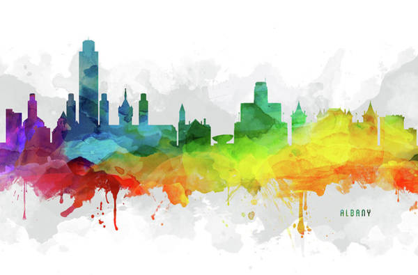 Wall Art - Digital Art - Albany Skyline Mmr-usnyal05 by Aged Pixel