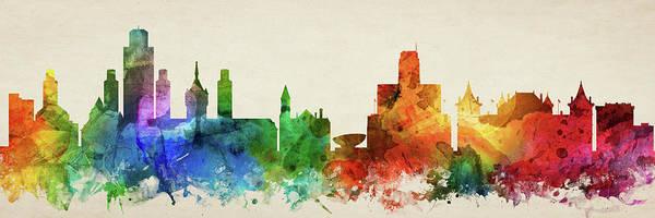Wall Art - Digital Art - Albany Skyline Panorama Usnyal-pa03 by Aged Pixel