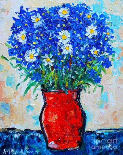 Blue Cornflower Painting - Albastrele Blue Flowers And Daisies by Ana Maria Edulescu