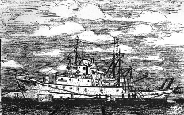 Wall Art - Drawing - Albatross Iv At Fisheries Pier by Vic Delnore
