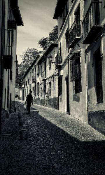 Photograph - Albayzin Street Granada Bw by Joan Carroll