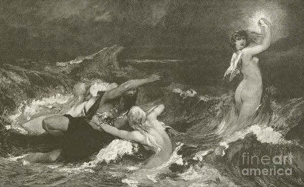 Waves Drawing - Alberich's Pursuit Of The Nibelungen Ring by Hans Makart