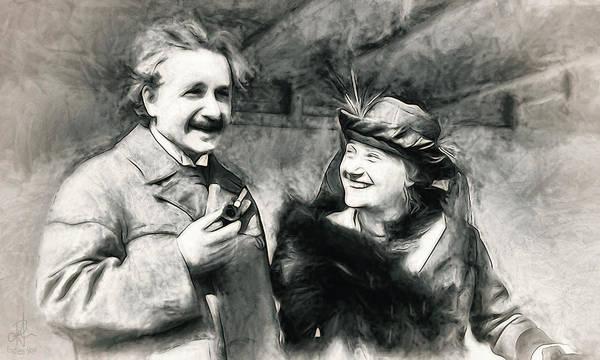 Photograph - Albert And Elsa Einstein  by Pennie McCracken