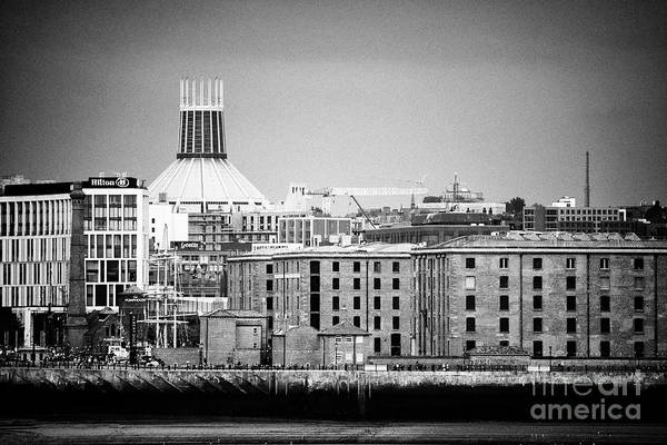 Wall Art - Photograph - Albert Dock Building Complex Hilton Hotel And Liverpool Catholic Cathedral River Mersey Skyline In L by Joe Fox