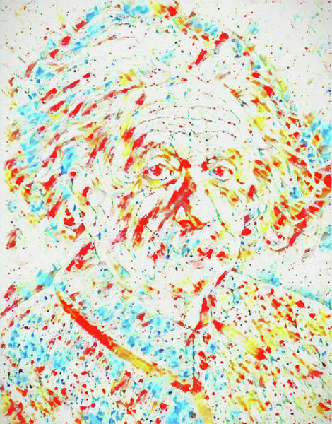 Quantum Physics Painting - Albert Einstein Color Splatter by Dan Sproul