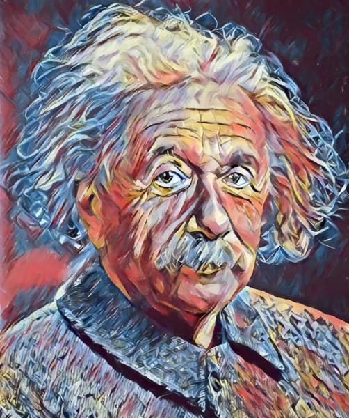 Quantum Physics Painting - Albert Einstein by Dan Sproul