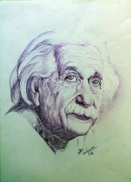 Mass-energy Equivalence Wall Art - Painting - Albert Einstein by Jayantilal Ranpara