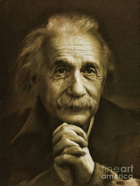 Physics Painting - Albert Einstein, Legend by Mary Bassett