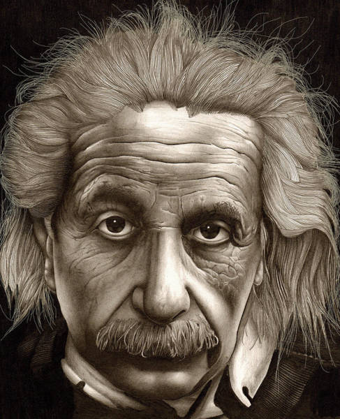 Einstein Wall Art - Drawing - Albert Einstein-millenium Man by Lee Appleby