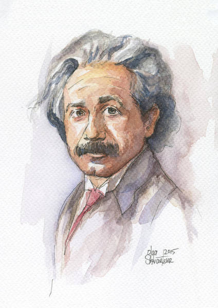Wall Art - Painting - Albert Einstein by Olga Shvartsur