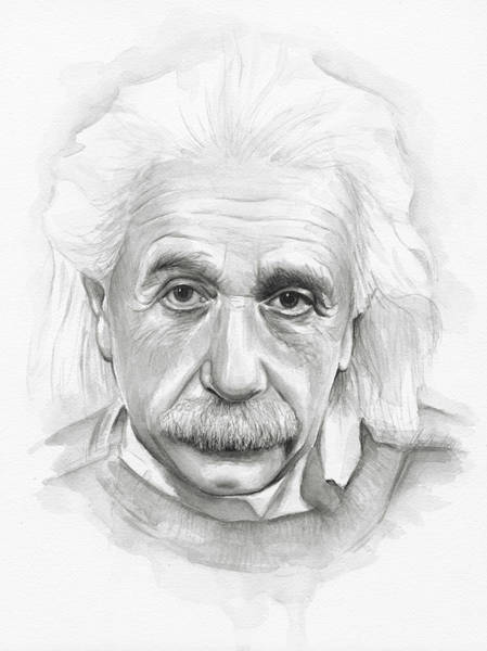 Einstein Wall Art - Painting - Albert Einstein Portrait by Olga Shvartsur