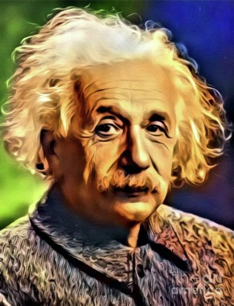 Physics Painting - Albert Einstein, Science Legend. Digital Art By Mb by Mary Bassett