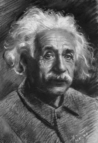Einstein Wall Art - Drawing - Albert Einstein by Ylli Haruni