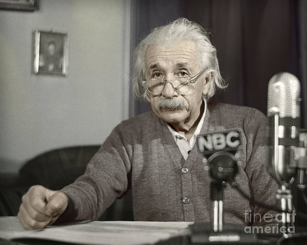 Photograph - Albert Einstein's Warning by Martin Konopacki Restoration