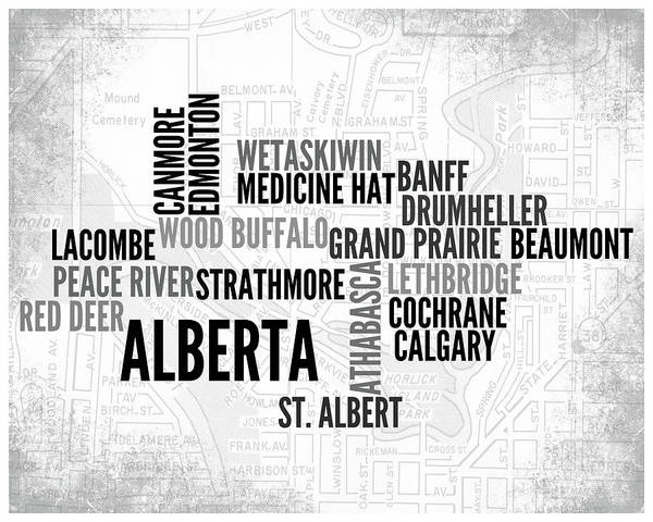 Wall Art - Digital Art - Alberta Canada 1 Word Art Typography by Melissa Smith