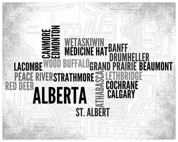 Wall Art - Digital Art - Alberta Canada 1 Word Art Typography by Melissa Smith