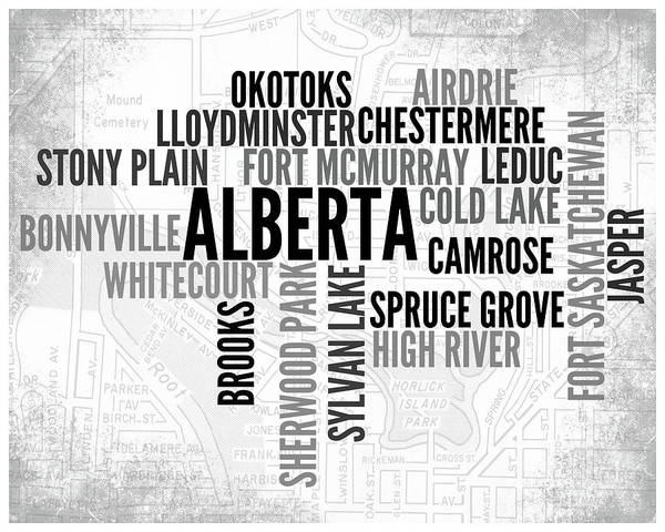 Wall Art - Digital Art - Alberta Canada 2 Word Art Typography by Melissa Smith
