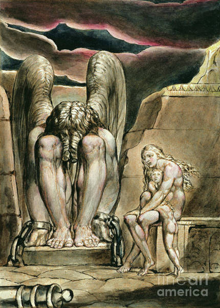William Drawing - Albion's Angel, Frontispiece To America, A Prophecy, Circa 1821 by William Blake
