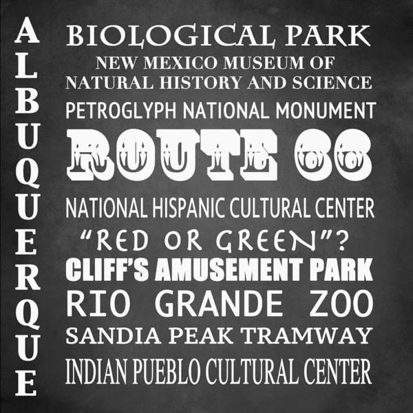 Petroglyphs Digital Art - Albuquerque Famous Landmarks by Patricia Lintner